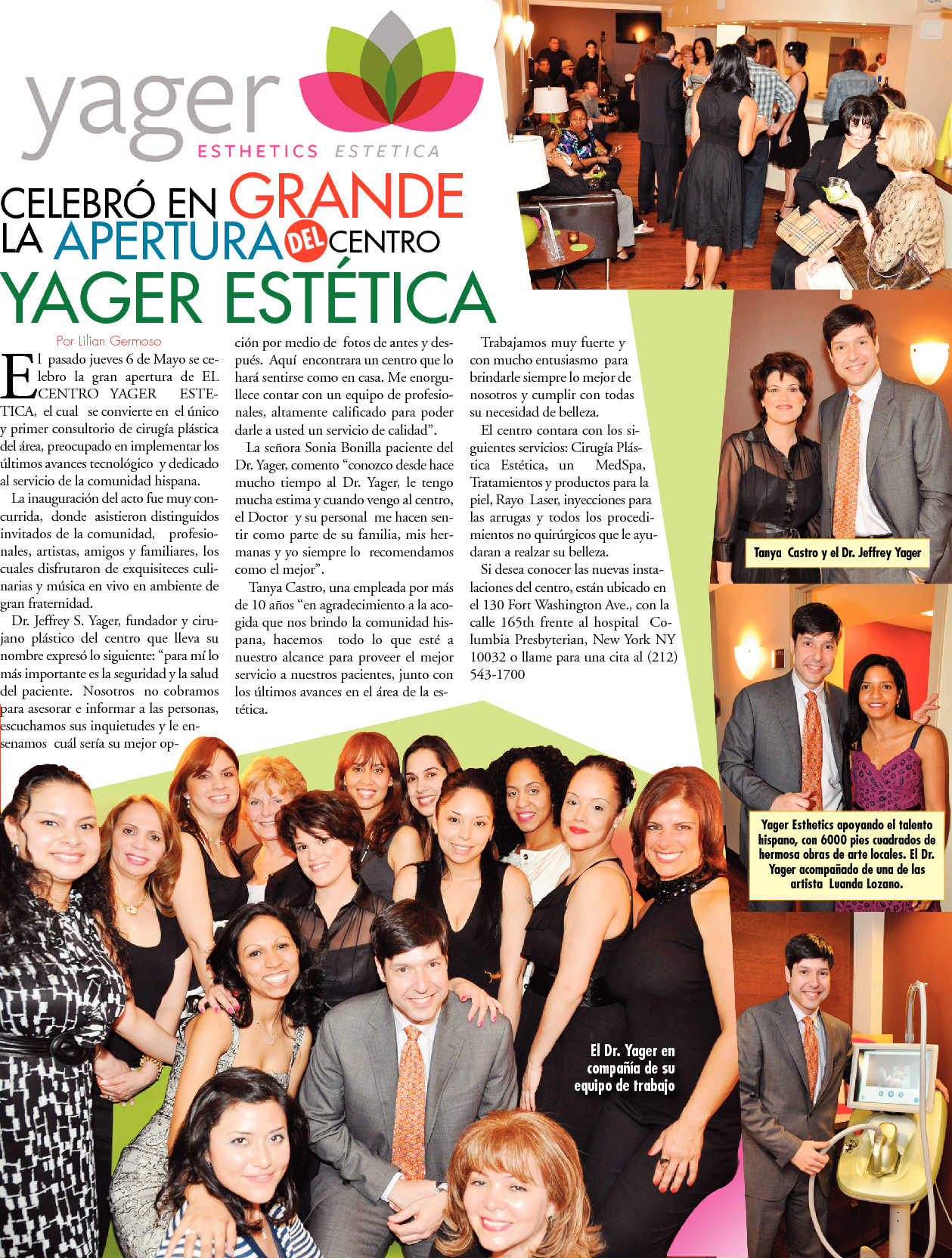 REVISTAS Y PUBLICACIONES: Celebrating the new Yager Esthetics | Estética™ Office