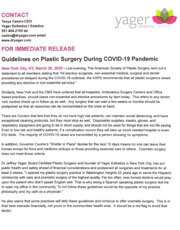 For Immediate Release Guidelines on Plastic Surgery During COVID-19 Pandemic