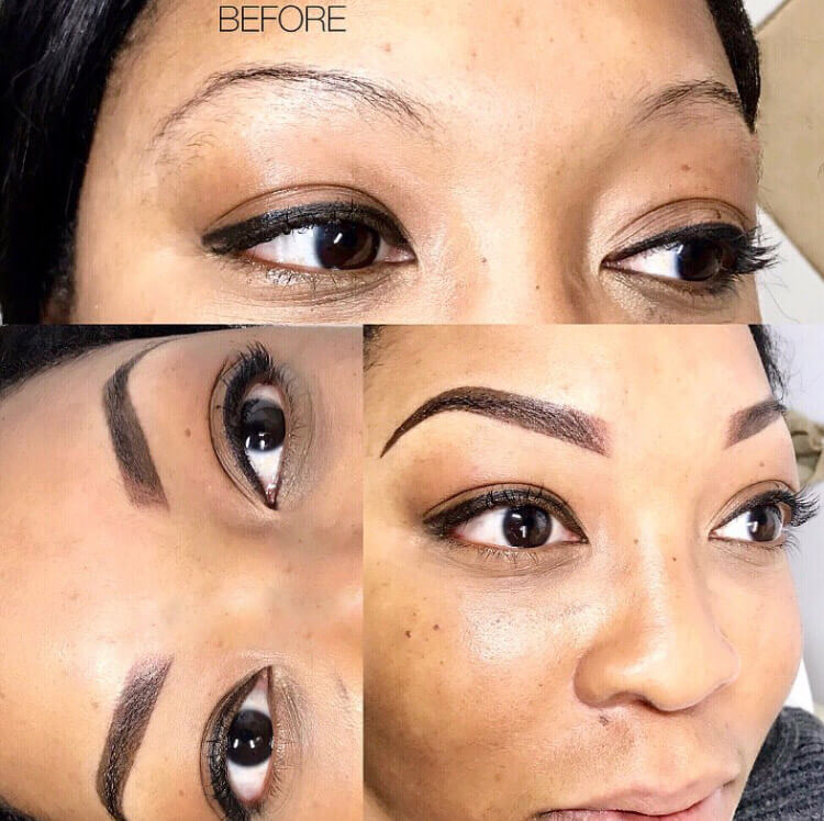 Ombre powder brows woman patient before and after photo